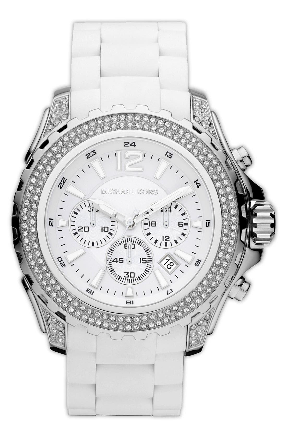 Main Image - Michael Kors 'Drake' Silicone Bracelet Watch