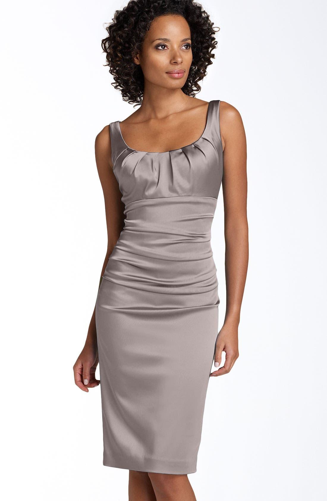 Stretch Satin Sheath Dress,                         Main,                         color, Moonbeam