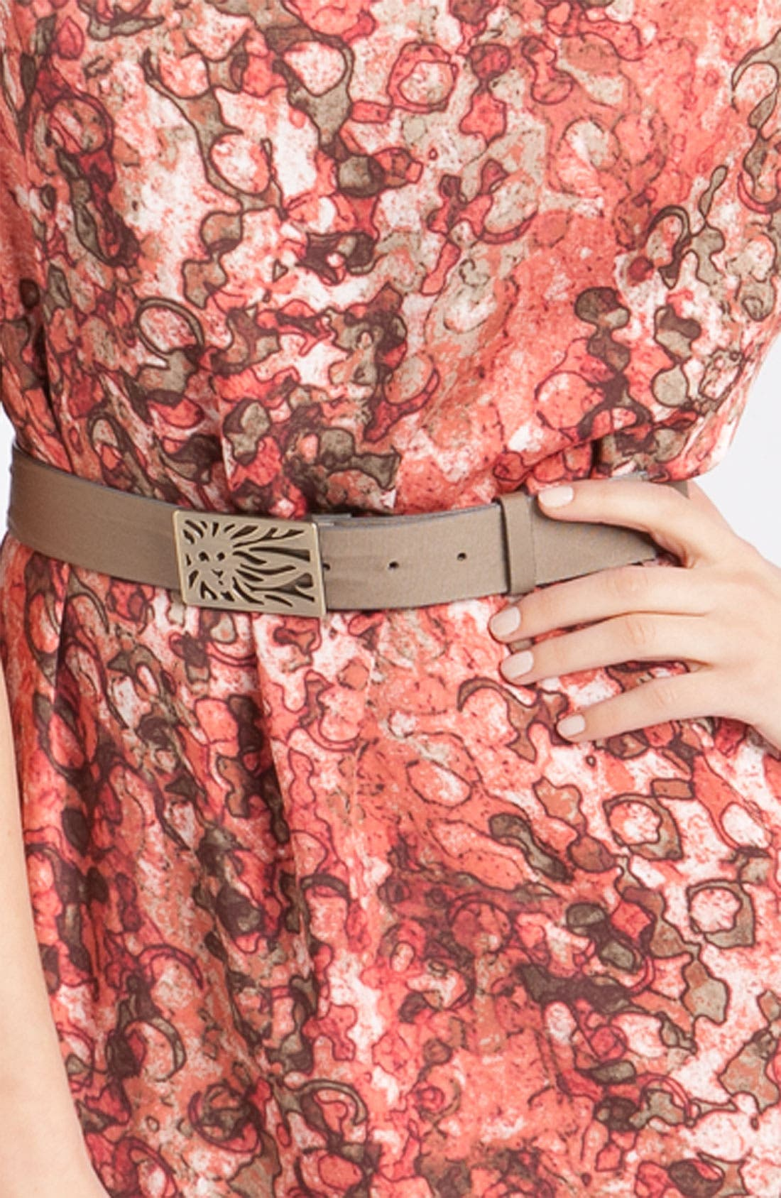 'Watermark Print' Belted Dress,                             Alternate thumbnail 3, color,                             Coral