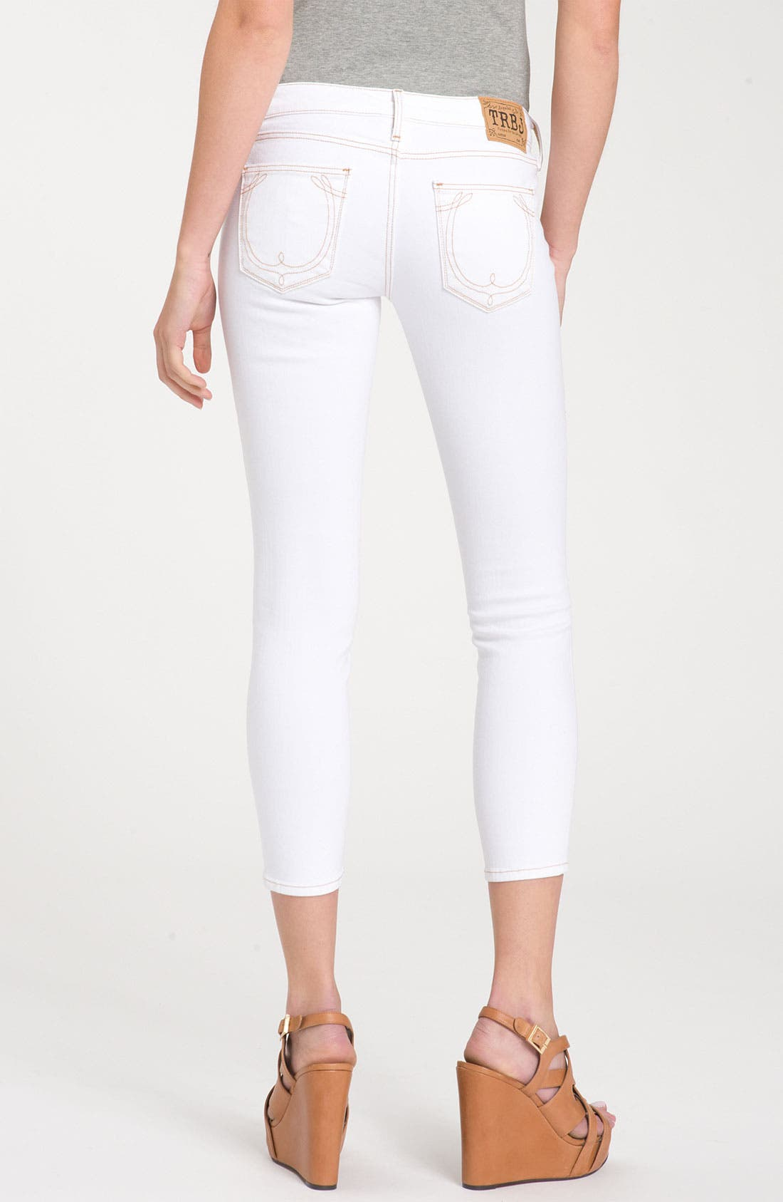 Alternate Image 1 Selected - True Religion Brand Jeans 'Brooklyn' Skinny Crop Jeans (Optic White)