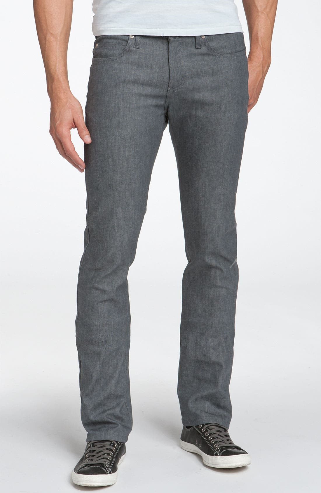 Alternate Image 1 Selected - Naked & Famous Denim 'Skinny Guy' Skinny Fit Jeans (Grey Stretch Wash)