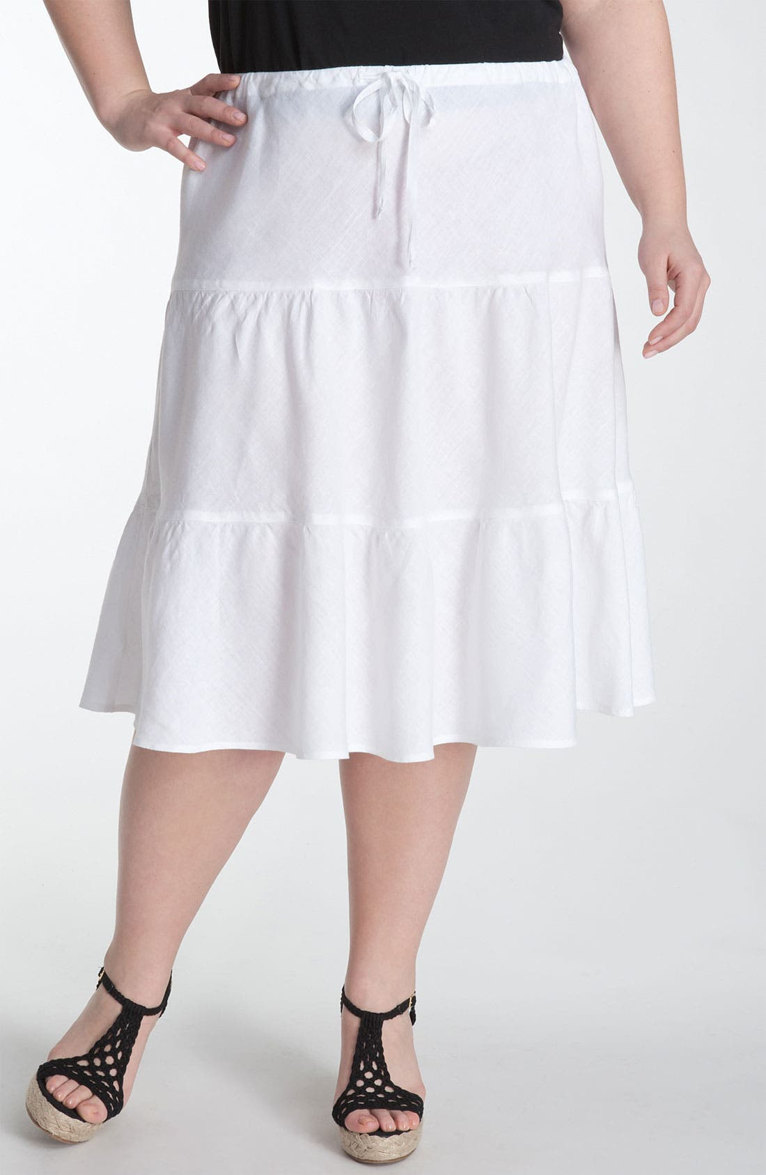 Main Image - Allen Allen Tiered Linen Skirt (Plus)
