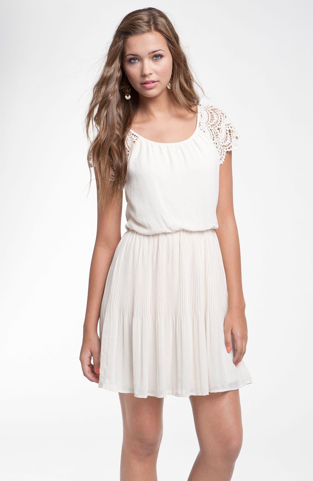 Main Image - Lush Crochet Sleeve Blouson Dress (Juniors)