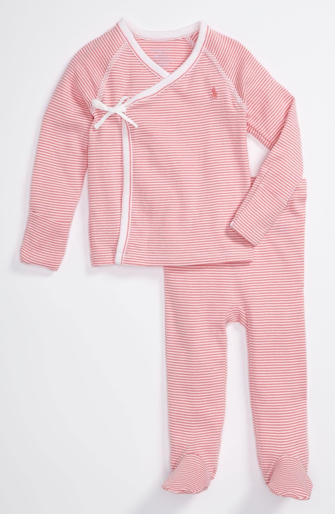 Alternate Image 1 Selected - Ralph Lauren Stripe Top & Footed Pants Set (Baby)