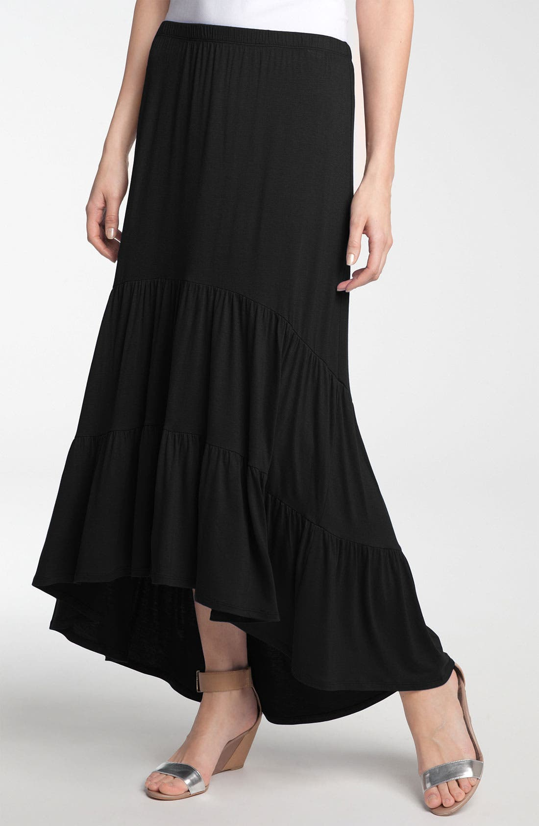 Main Image - Olivia Moon Tiered Knit Maxi Skirt with High Low Hem