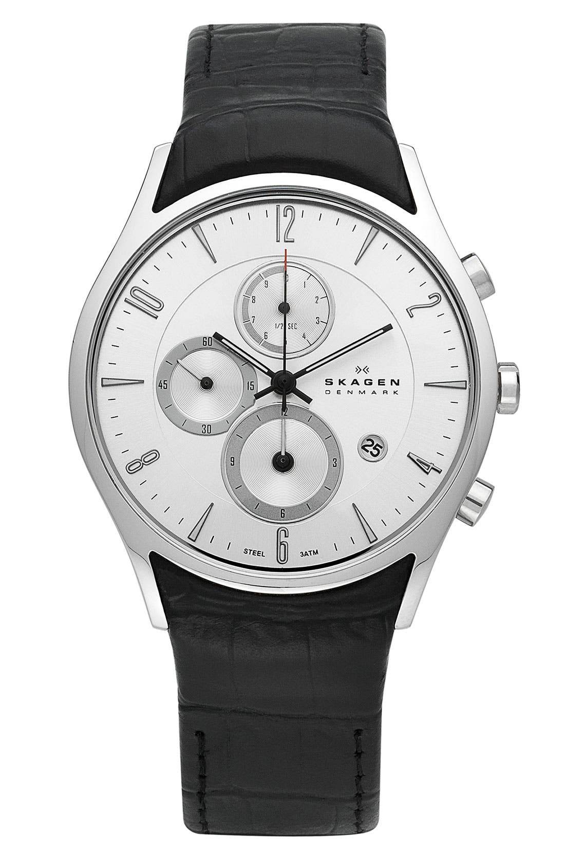 Alternate Image 1 Selected - Skagen Chronograph Leather Strap Watch
