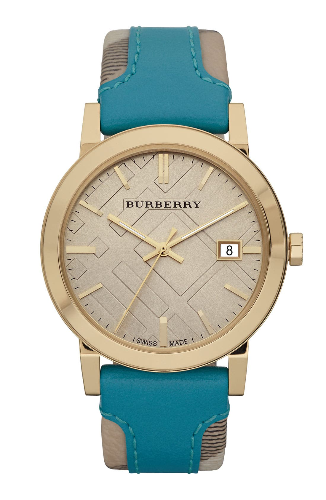 Alternate Image 1 Selected - Burberry 'Large' Stamped Leather Strap Watch, 38mm