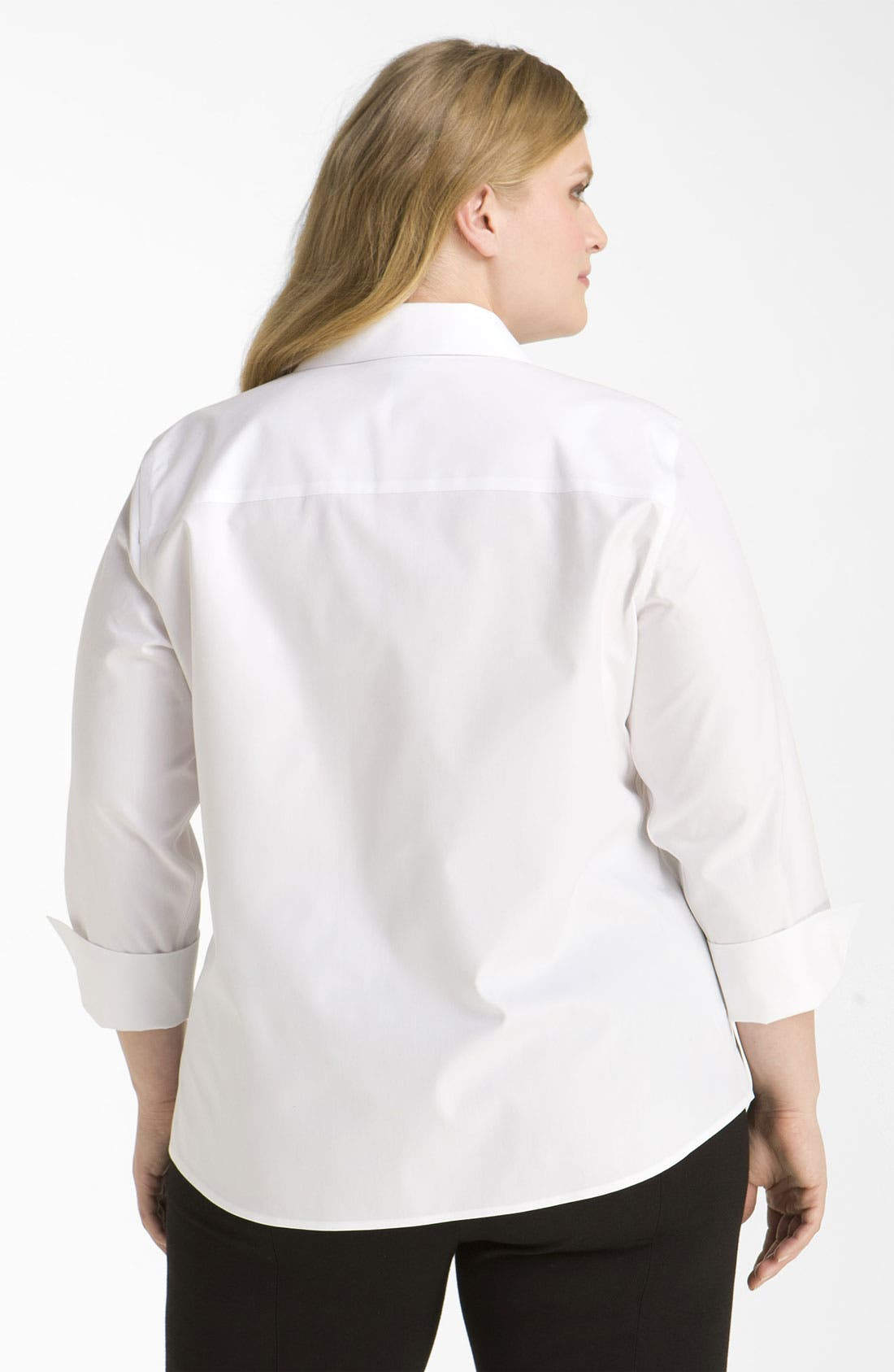 Alternate Image 2  - Foxcroft Wrinkle Free Shaped Shirt (Plus Size)