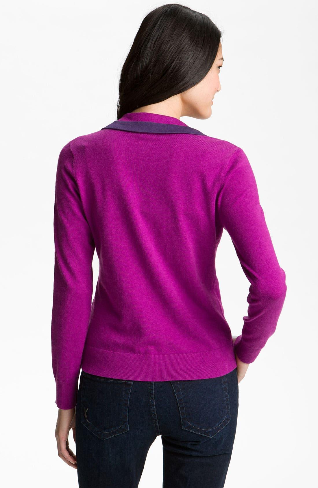 Alternate Image 2  - Halogen® Tipped Sweater Blazer