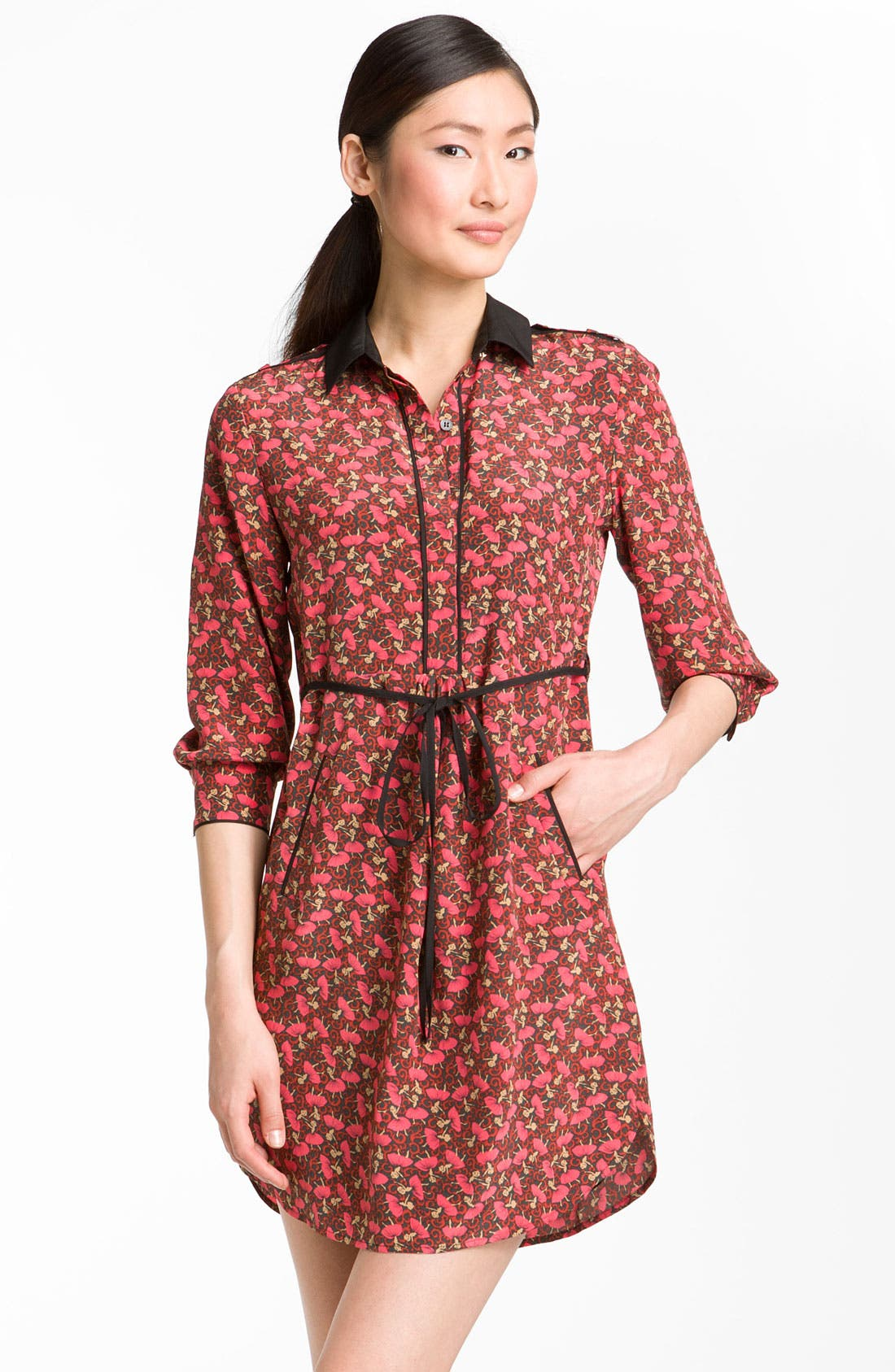 Alternate Image 1 Selected - Ted Baker London 'Dancers' Ditsy Print Silk Shirtdress