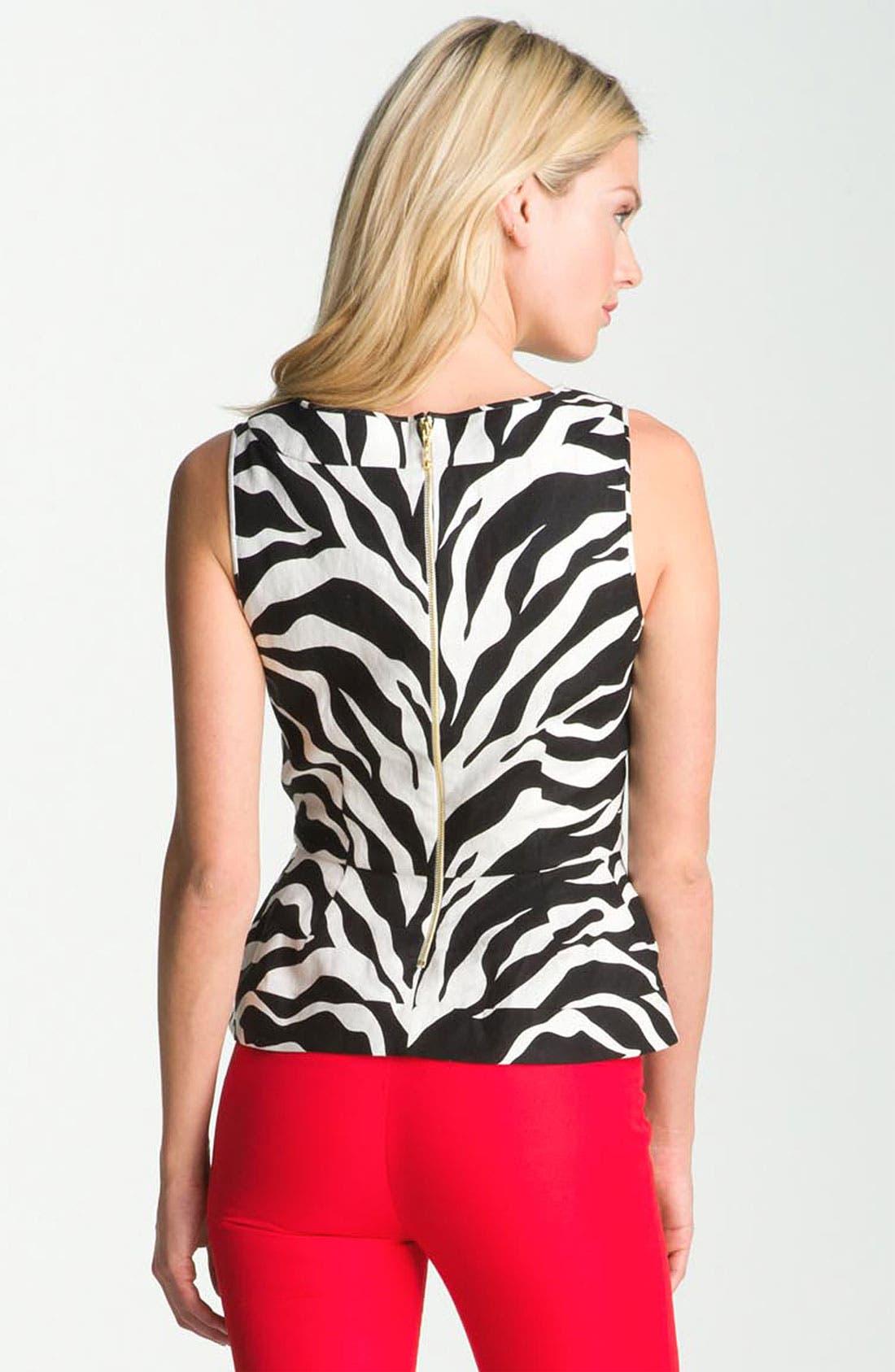 Alternate Image 2  - kate spade new york 'randie' zebra print linen top