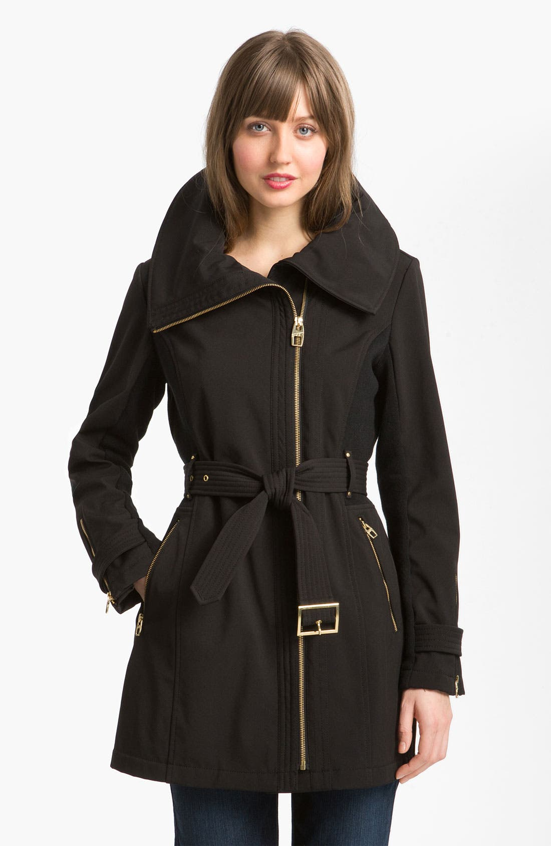 Asymmetrical Soft Shell Jacket,                         Main,                         color, Black