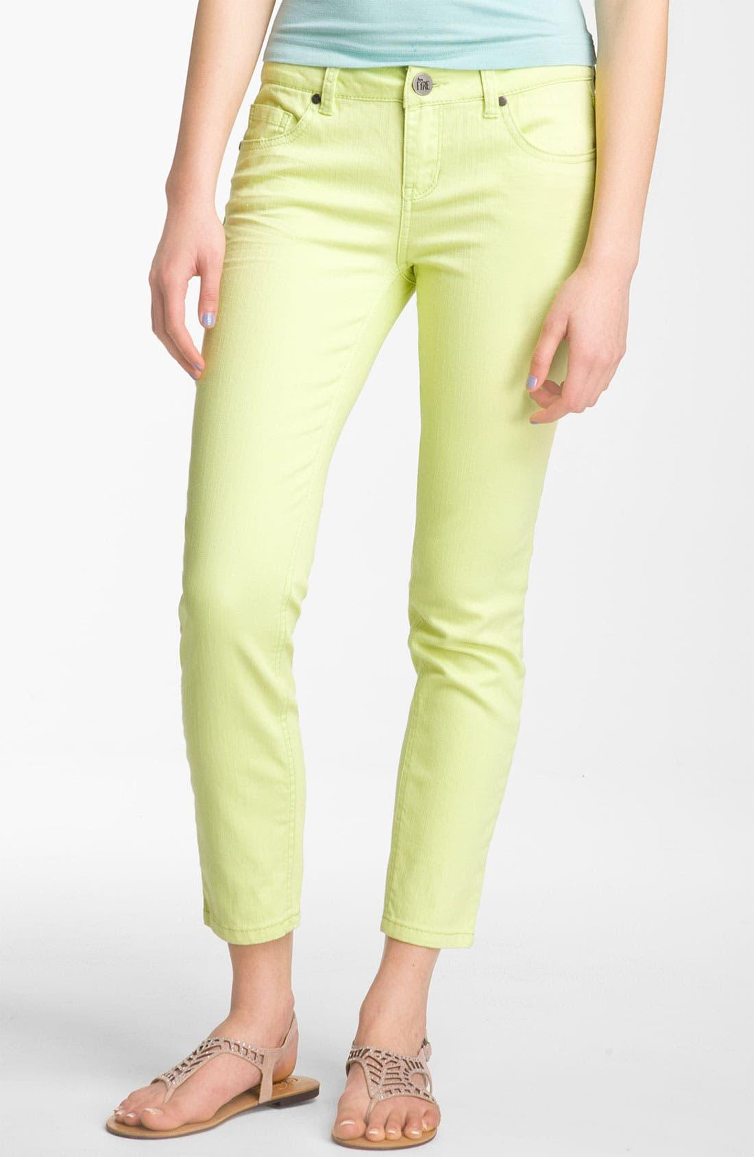 Alternate Image 2  - Fire Color Skinny Ankle Jeans (Juniors)