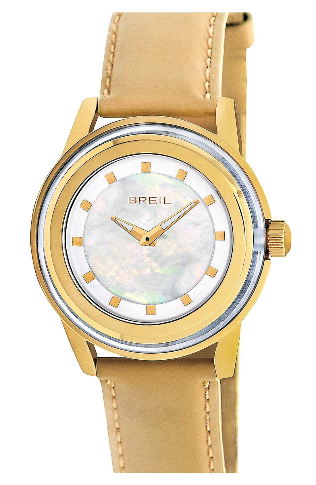 Alternate Image 1 Selected - Breil 'Orchestra' Round Leather Strap Watch