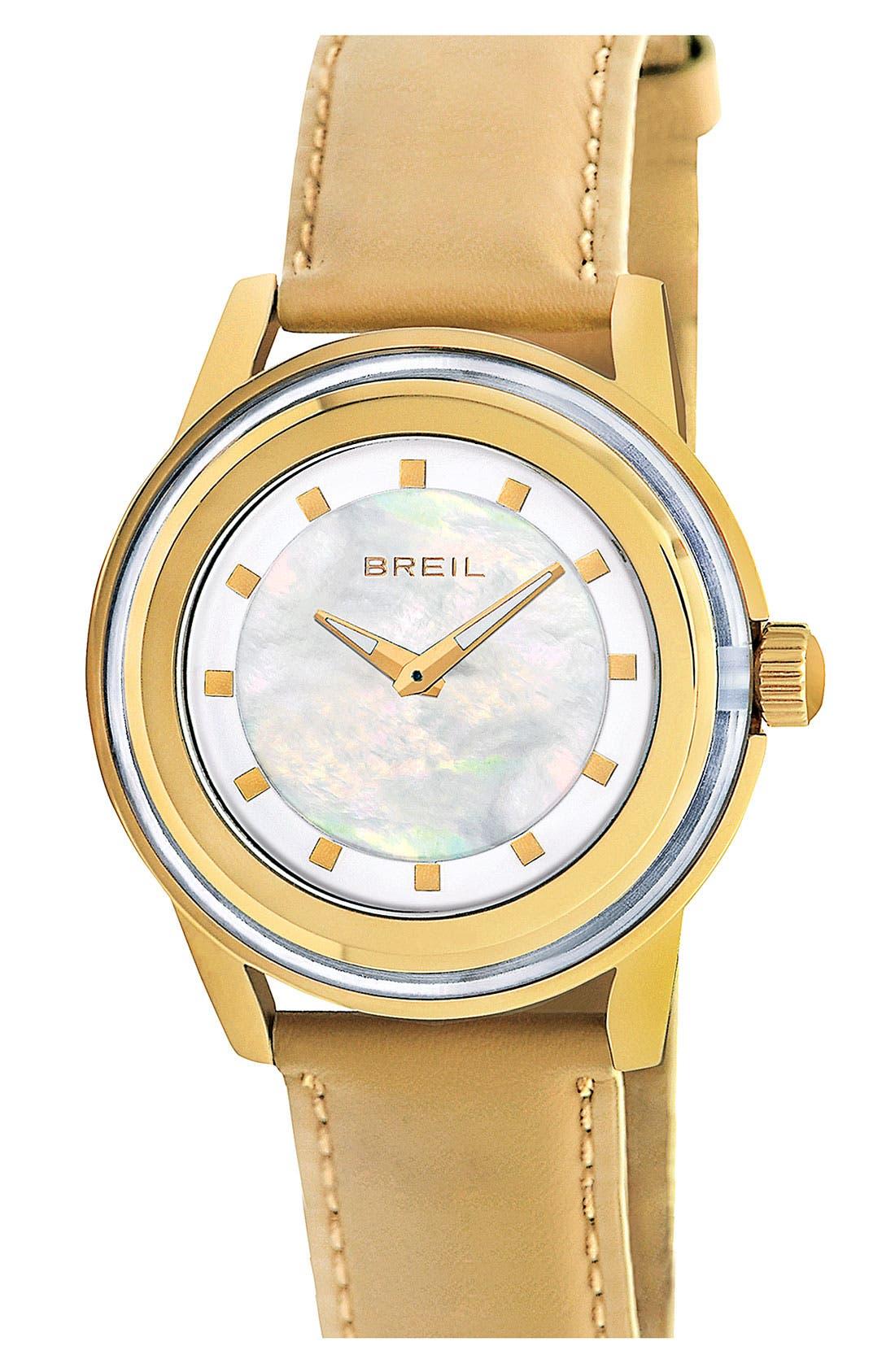 Main Image - Breil 'Orchestra' Round Leather Strap Watch