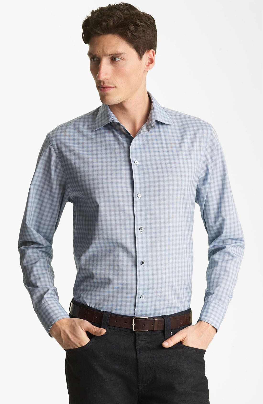 Alternate Image 1 Selected - Armani Collezioni Plaid Woven Shirt