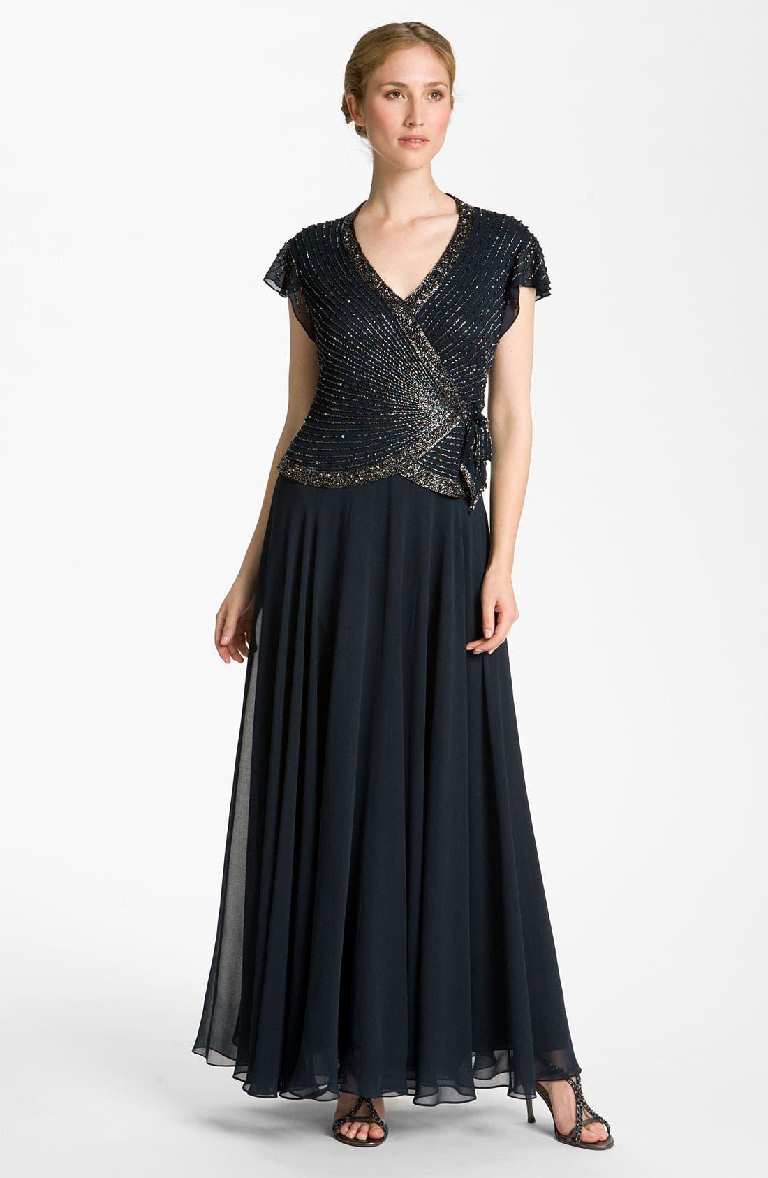 Alternate Image 1 Selected - J Kara Embellished Chiffon Gown