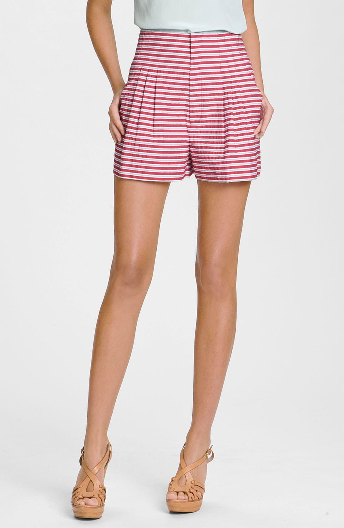 Alternate Image 1 Selected - Nanette Lepore 'Gold Rush' Striped Pleated Shorts