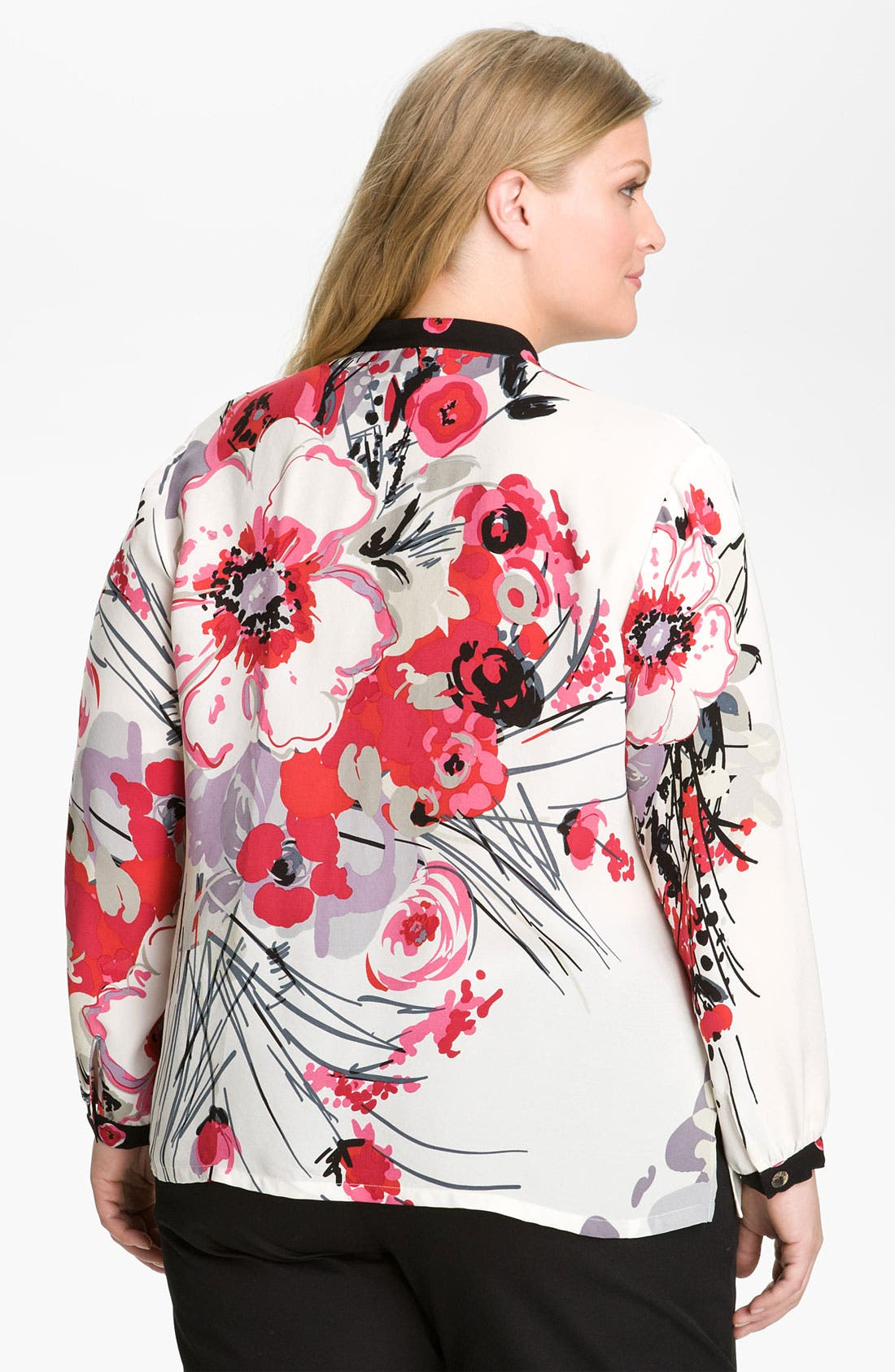 Alternate Image 2  - Citron Floral Silk Tunic (Plus)