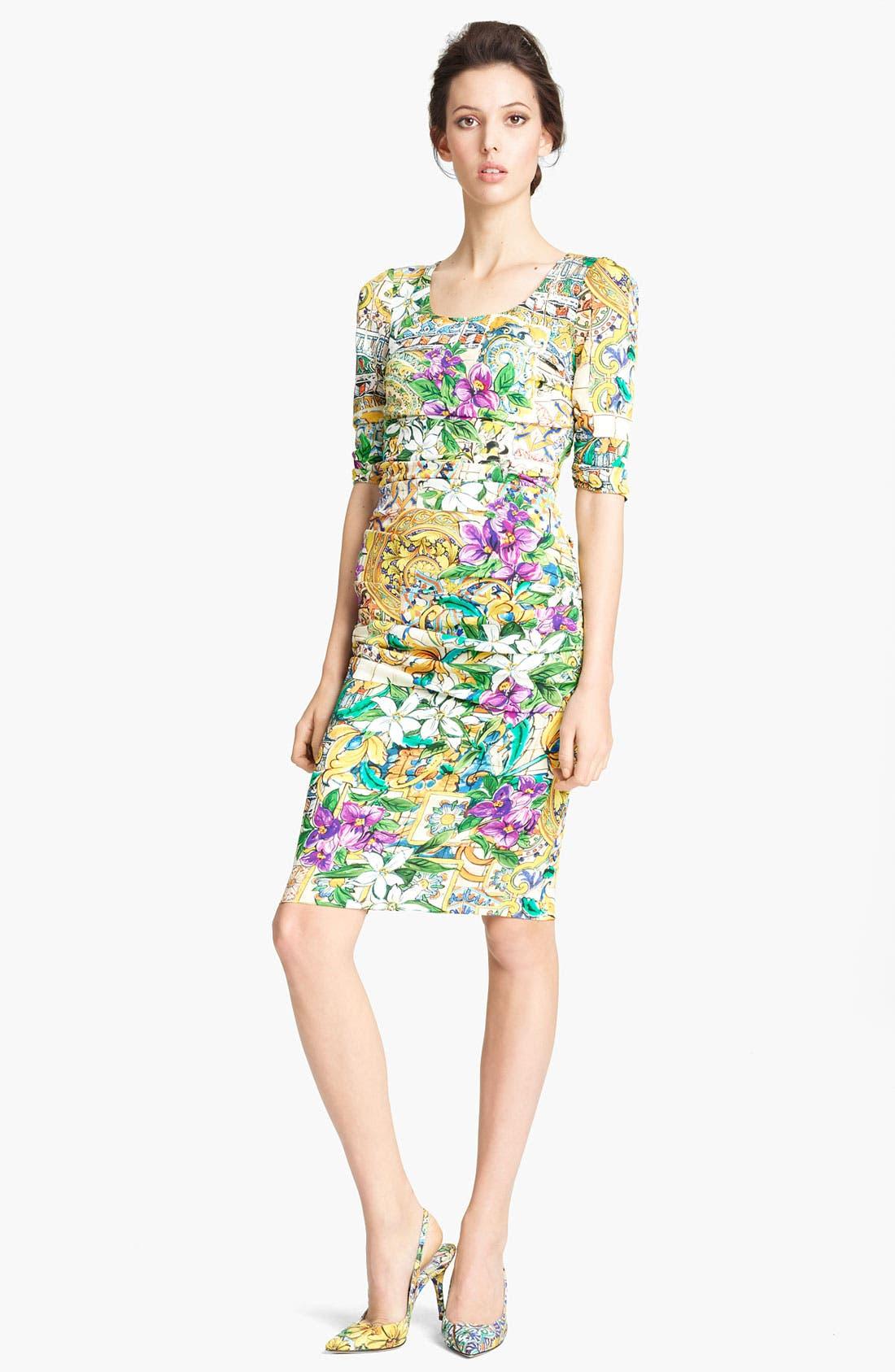 Main Image - Dolce&Gabbana Floral Print Silk Dress
