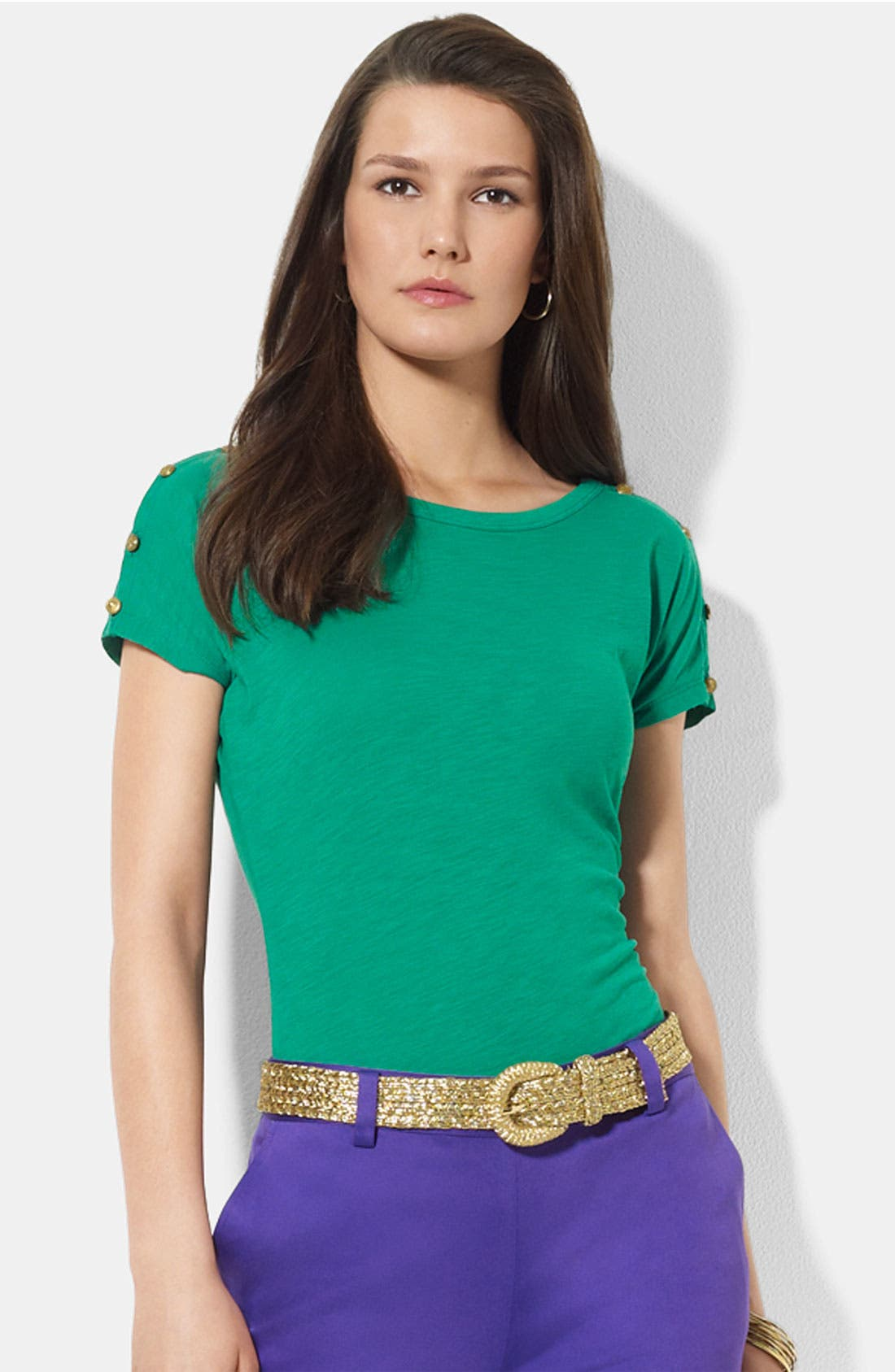Alternate Image 1 Selected - Lauren Ralph Lauren Ballet Neck Top (Petite)