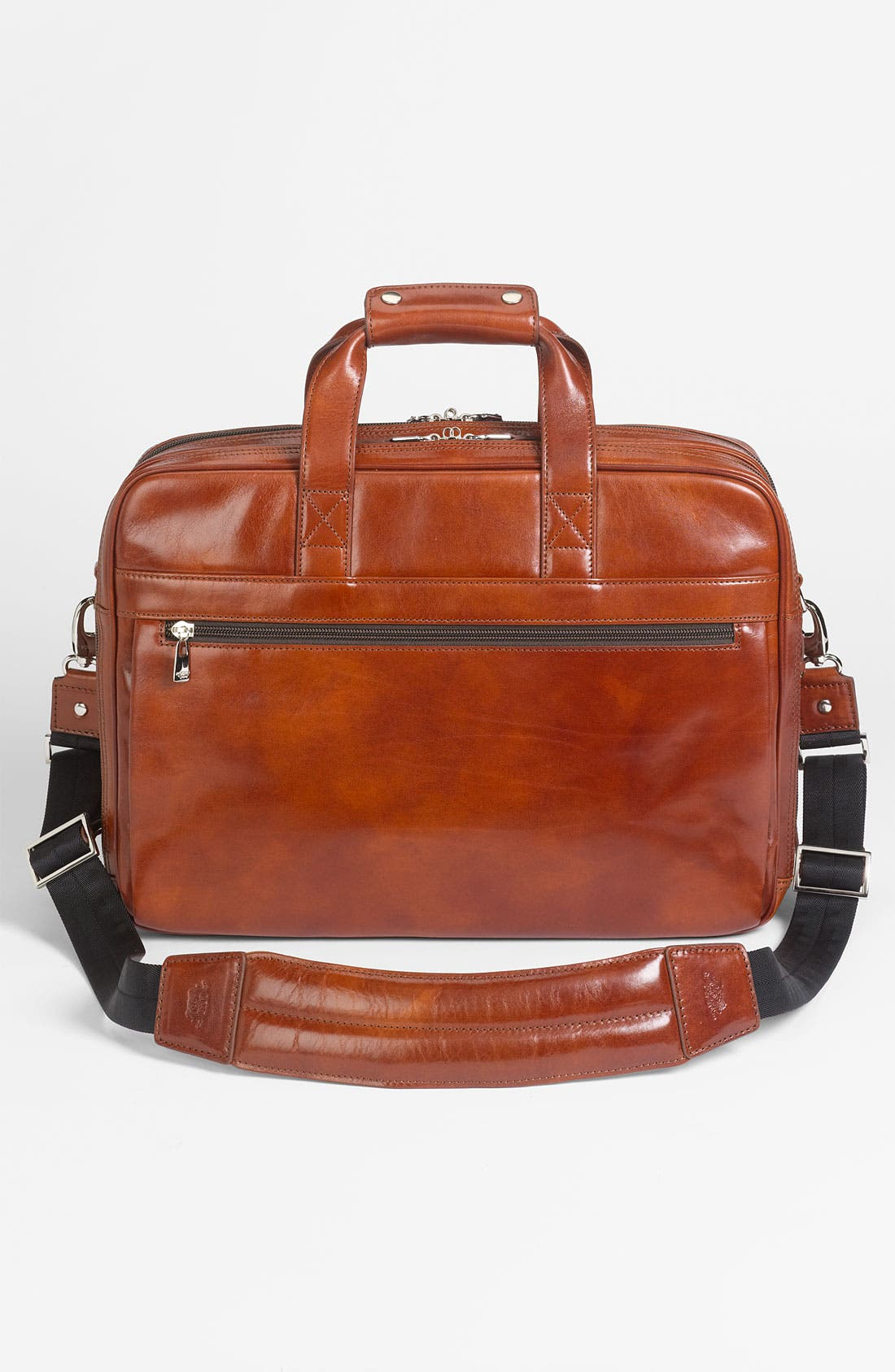 Double Compartment Leather Briefcase,                             Alternate thumbnail 3, color,                             Amber