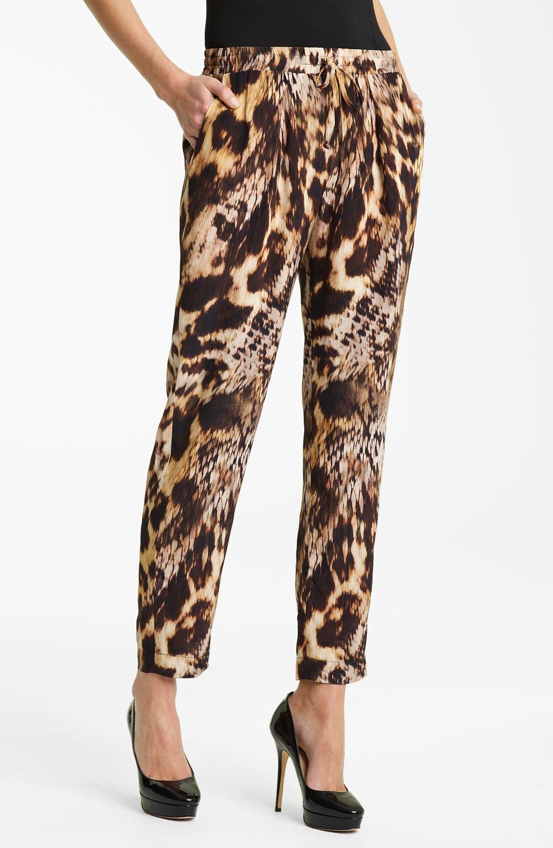 Alternate Image 1 Selected - Yigal Azrouël Leopard Print Silk Crepe Pants