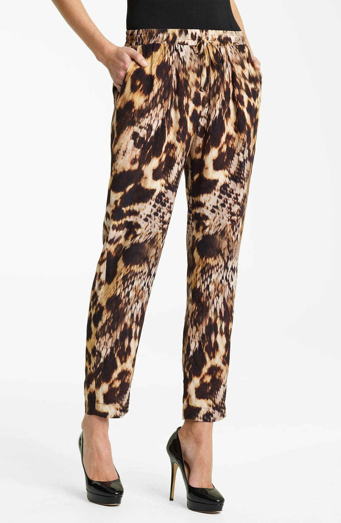 Main Image - Yigal Azrouël Leopard Print Silk Crepe Pants