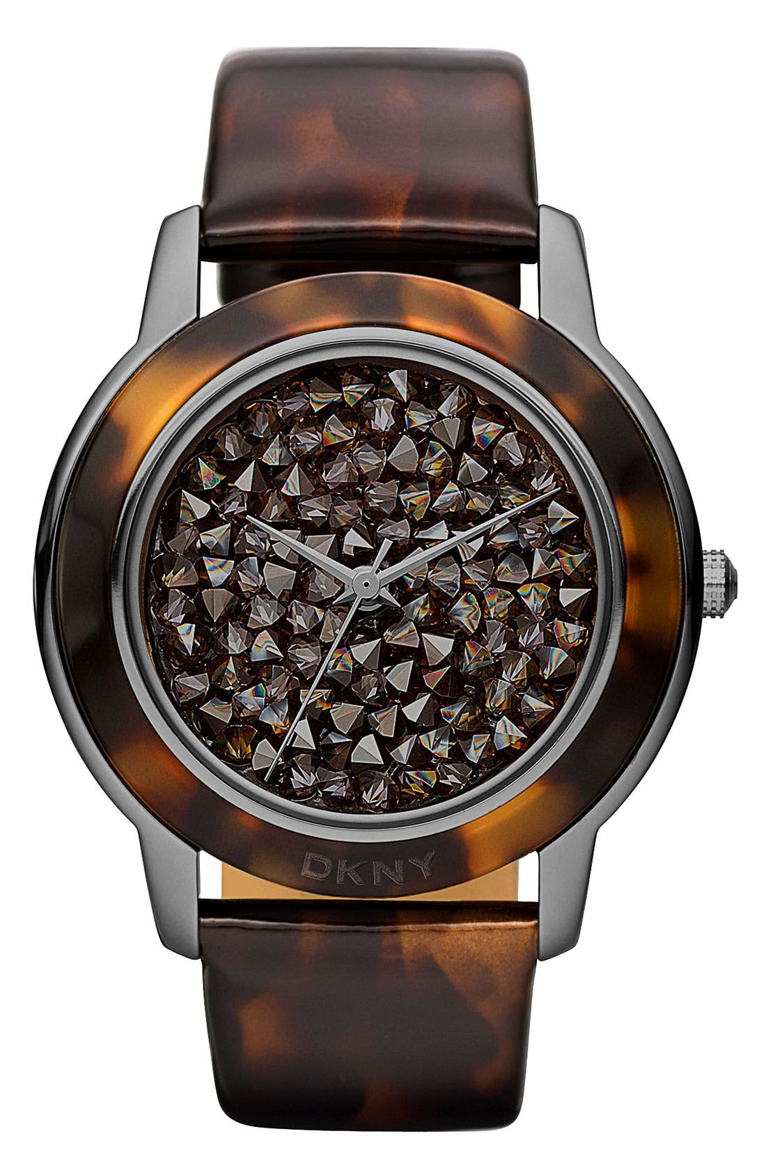 Main Image - DKNY 'Glitz' Patterned Leather Strap Watch