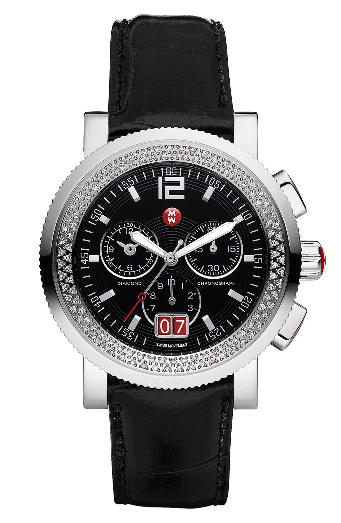 Alternate Image 2  - Michele 'Sport Sail - Large' Diamond Black Dial Customizable Watch