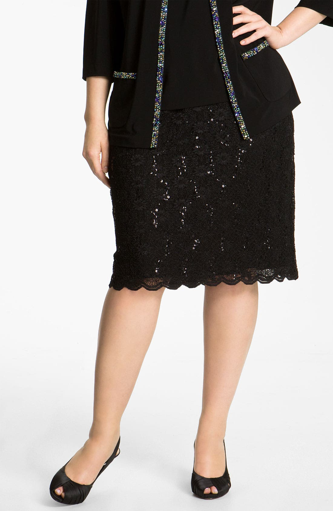 Alternate Image 1 Selected - Alex Evenings Sequin Lace Skirt (Plus)