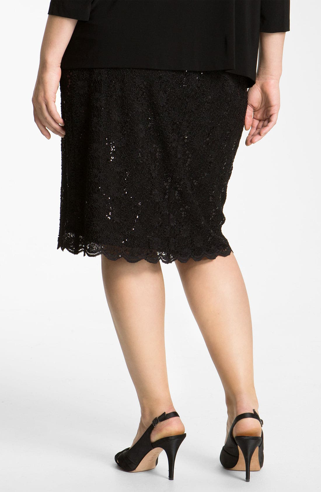 Alternate Image 2  - Alex Evenings Sequin Lace Skirt (Plus)