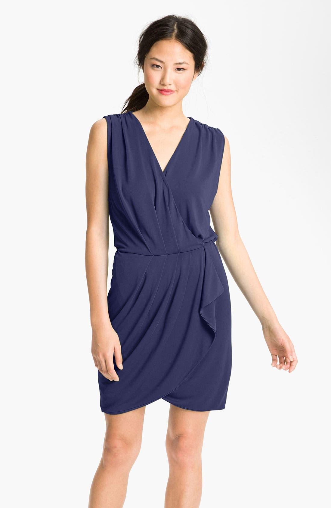 Faux Wrap Dress,                         Main,                         color, Lapis