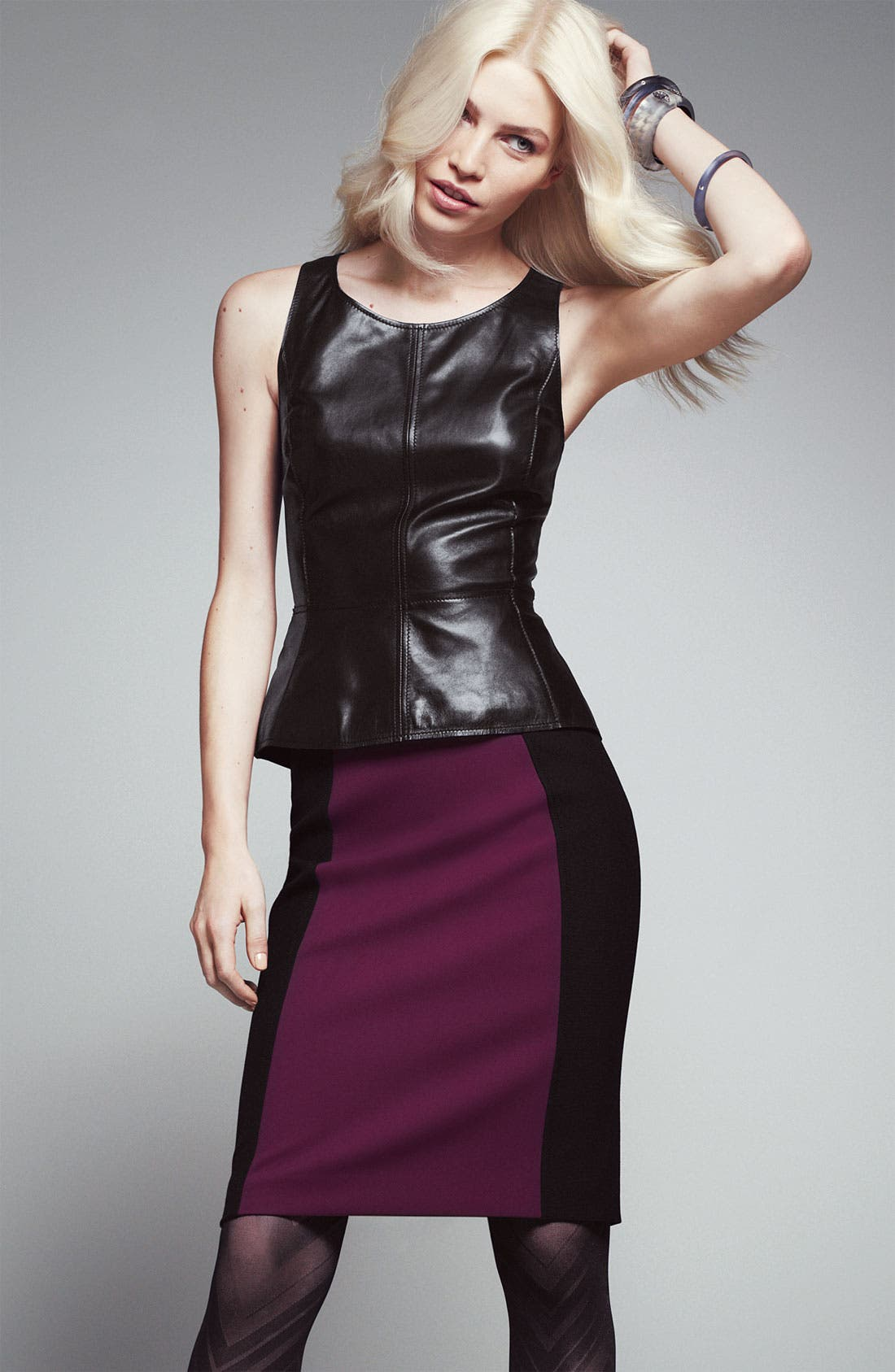 Alternate Image 2  - Halogen® Leather Top & Pencil Skirt