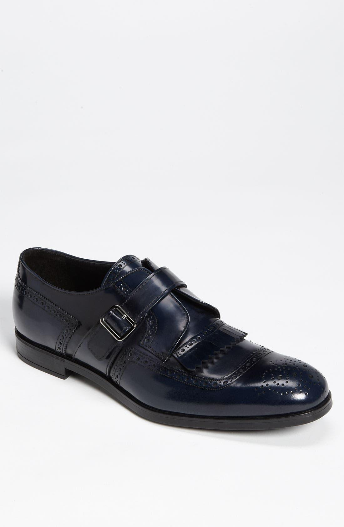 Main Image - Prada Brogue Kiltie Monk Strap Shoe