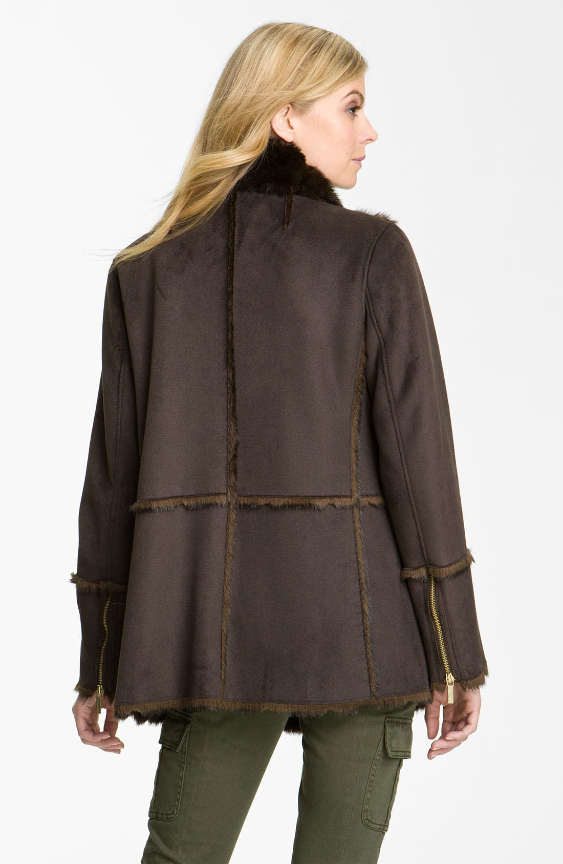 Faux Shearling Coat,                             Alternate thumbnail 2, color,                             Chocolate