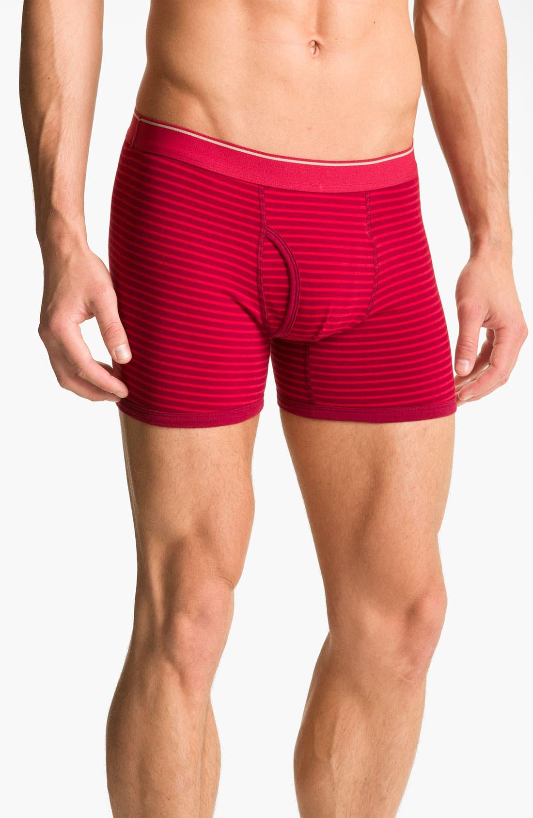 Alternate Image 4  - Basic Underwear Novelty Stripe Boxer Briefs (3-Pack)