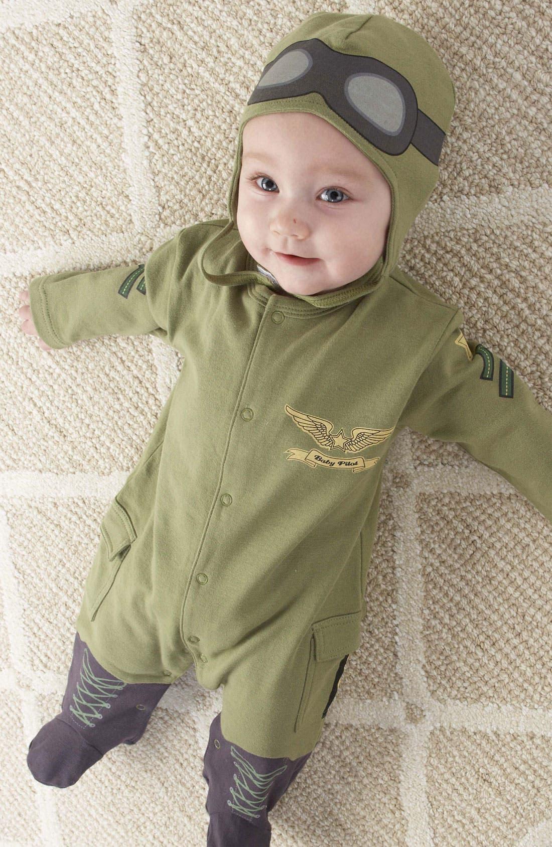 Main Image - Baby Aspen 'Pilot' Footie & Hat (Baby)