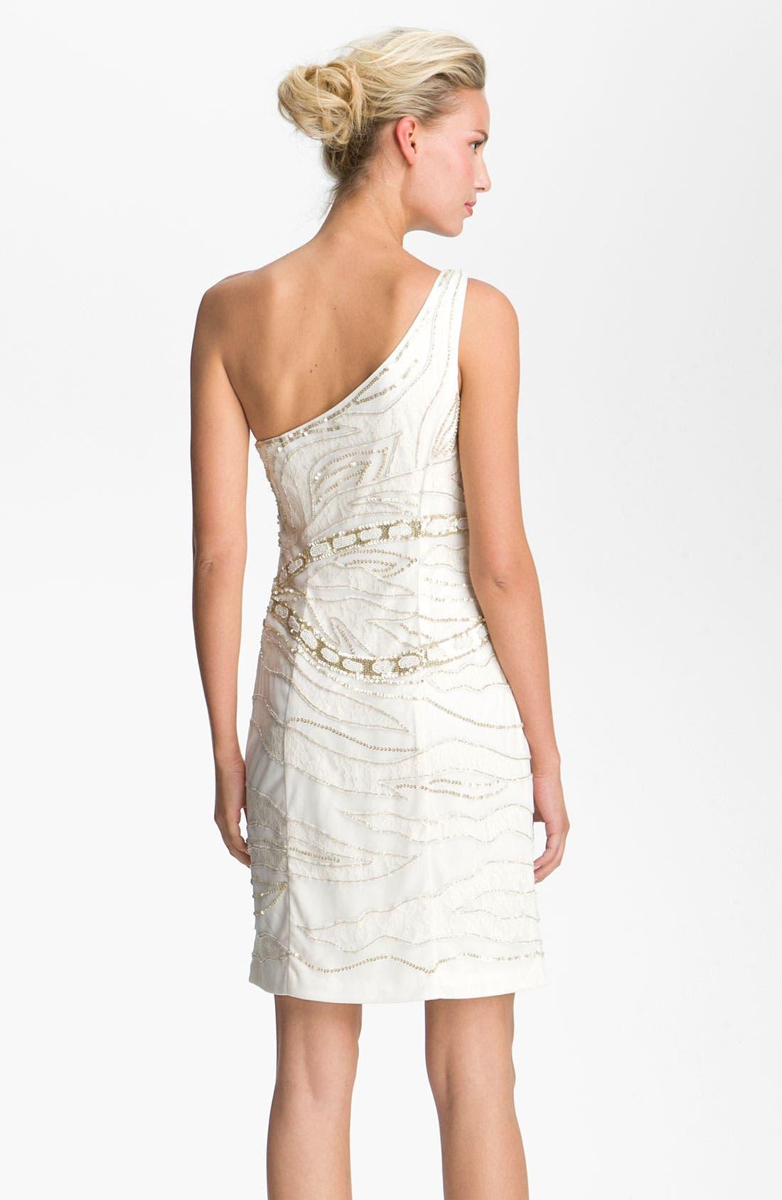 Alternate Image 2  - Sue Wong Embellished One Shoulder Mesh Overlay Dress