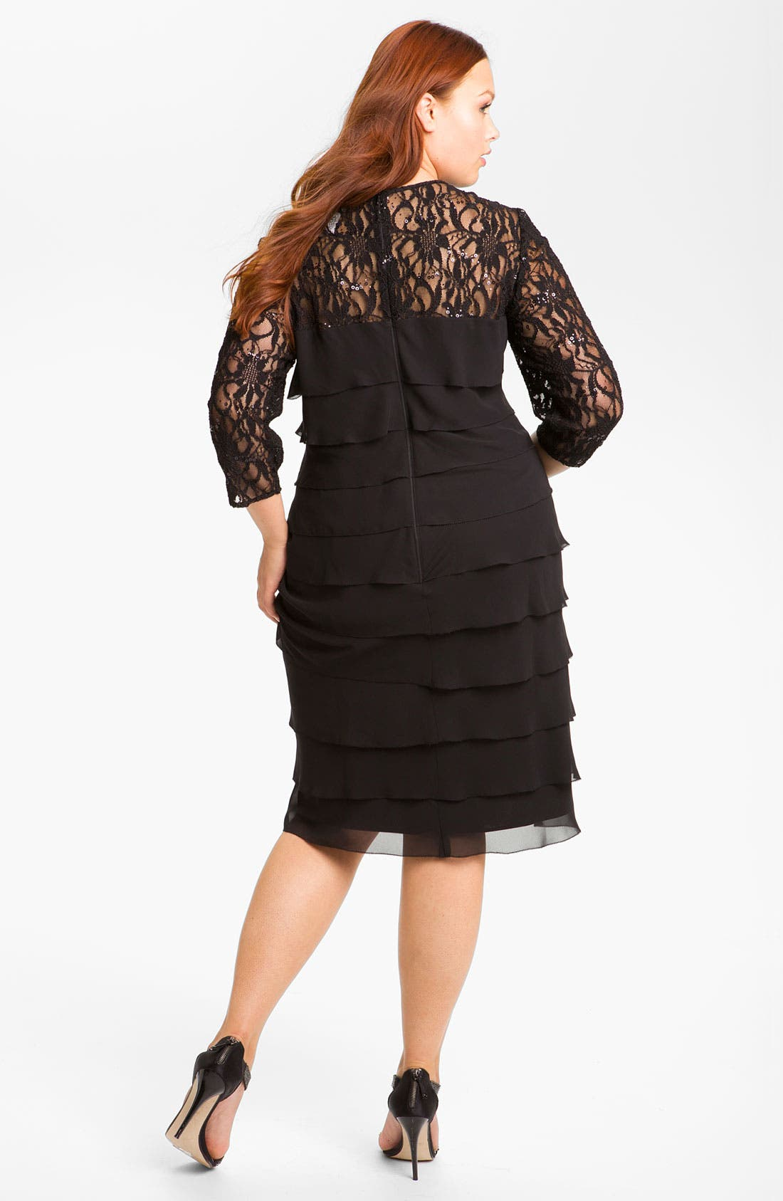 Alternate Image 2  - Alex Evenings Lace & Chiffon Shift Dress (Plus)