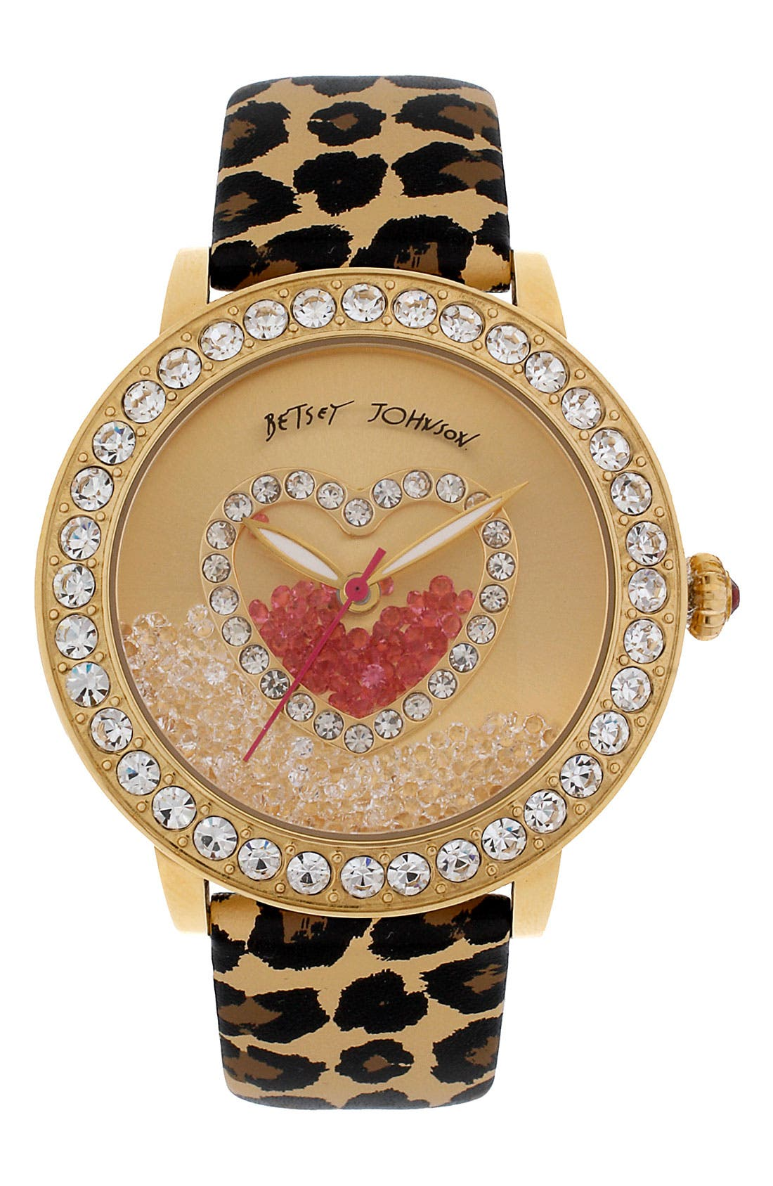 Main Image - Betsey Johnson Loose Crystal Dial Watch, 42mm