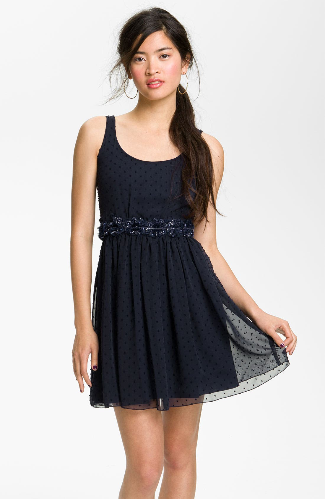 Alternate Image 1 Selected - Jump Apparel Sweet Swiss Dot Dress (Juniors)