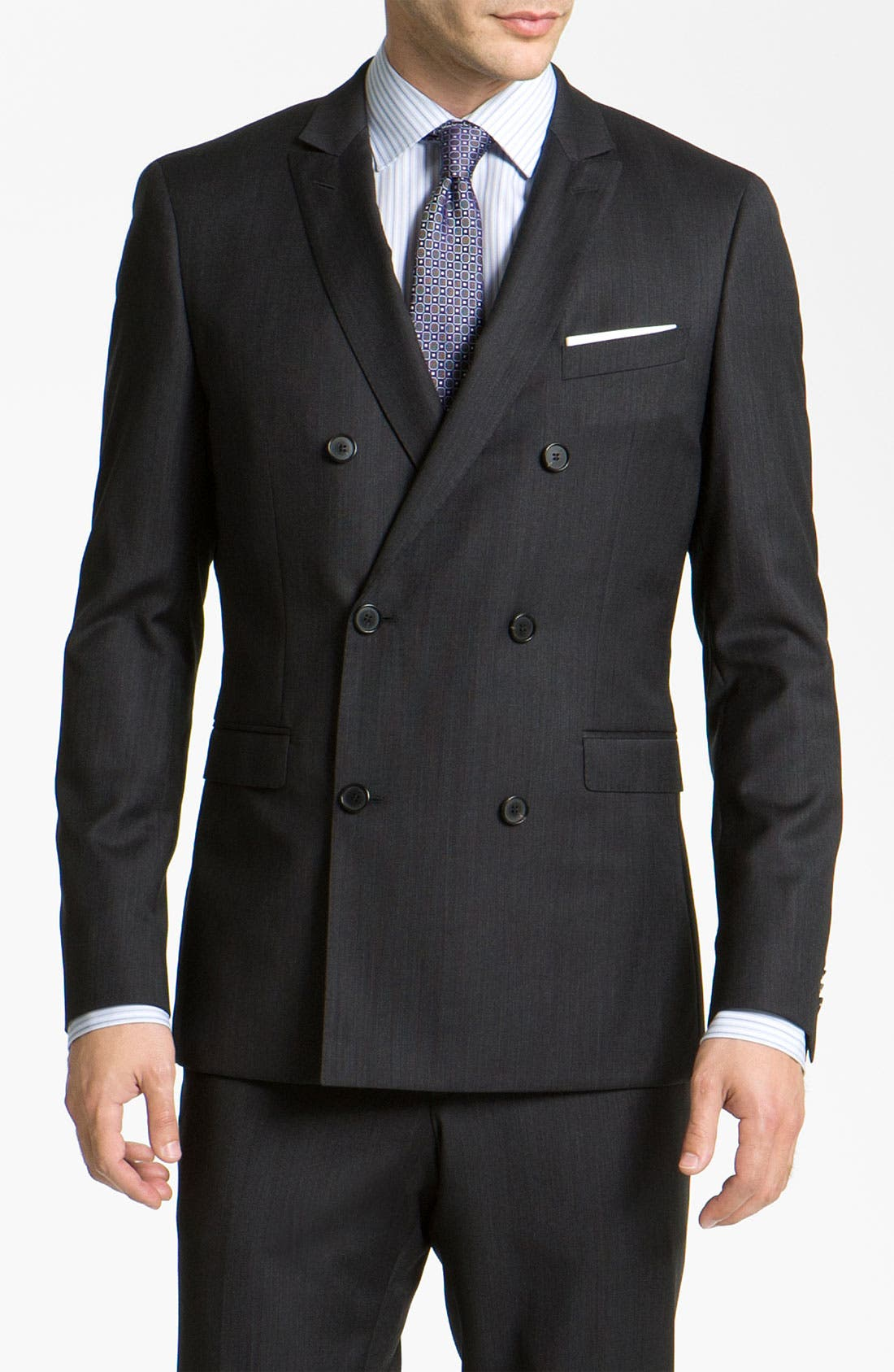 Main Image - BOSS Black 'Rusty/Win' Double Breasted Extra Trim Fit Suit