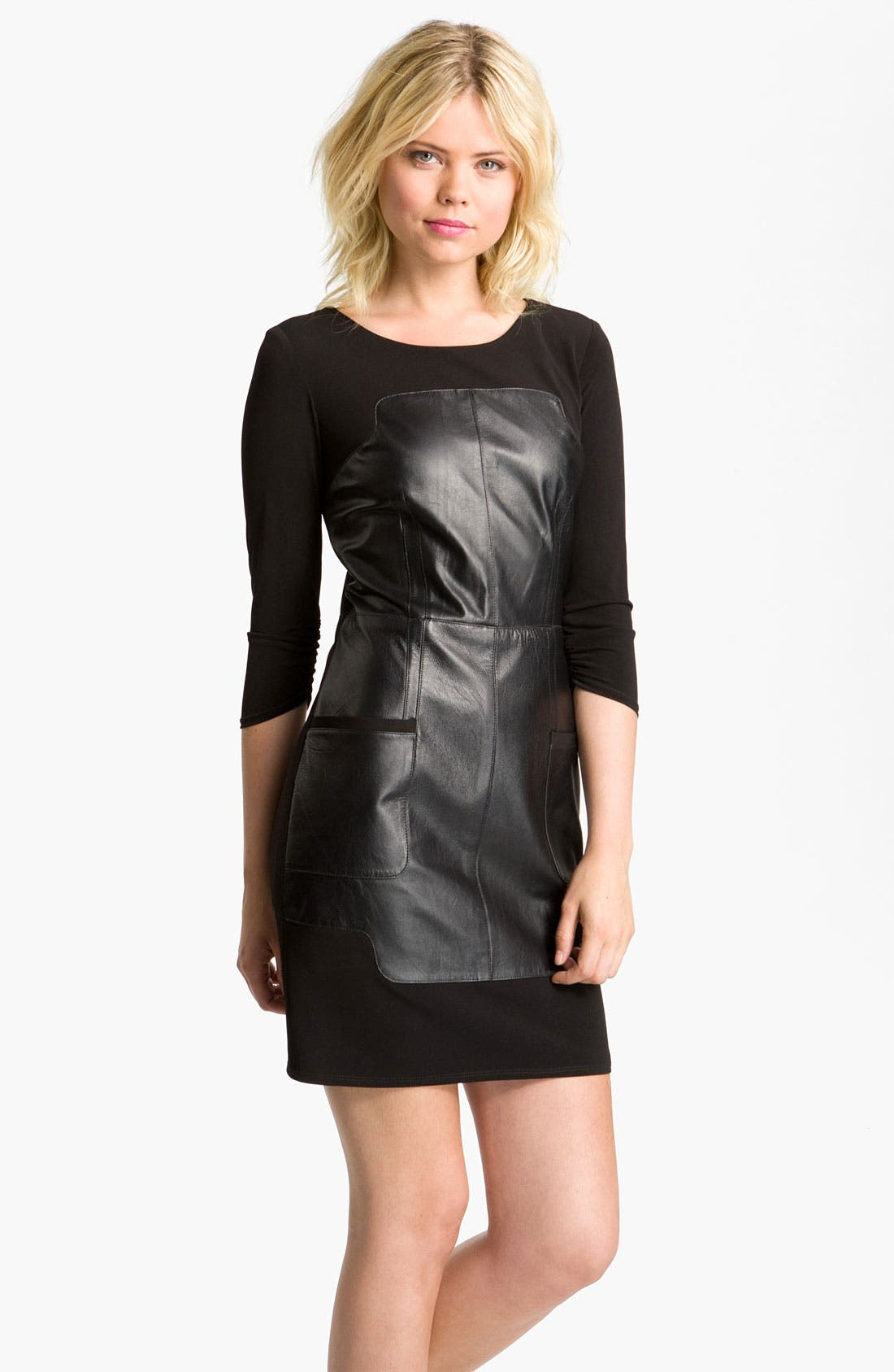 Alternate Image 1 Selected - Laundry by Shelli Segal Leather Inset Dress