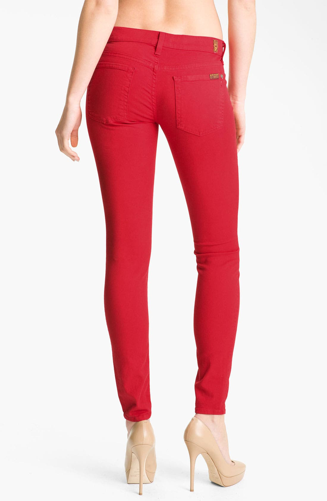 Alternate Image 2  - 7 For All Mankind® 'The Skinny' Overdyed Jeans (Red Apple)