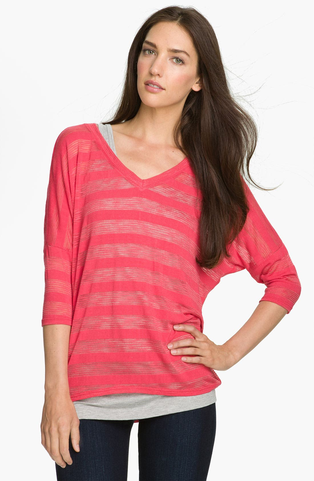 Alternate Image 1 Selected - Bobeau Shadow Stripe V-Neck Top