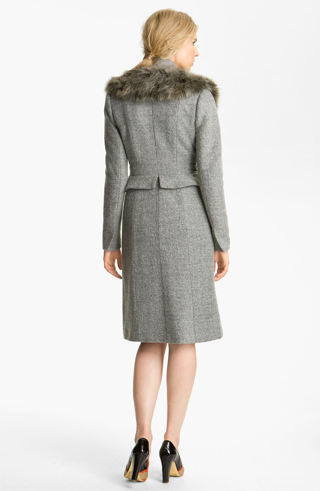 Alternate Image 2  - Tracy Reese Peplum Felt Coat with Faux Fur Trim