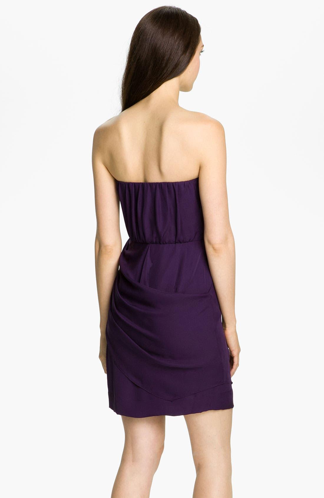 Alternate Image 2  - Donna Morgan Strapless Silk Georgette Blouson Dress