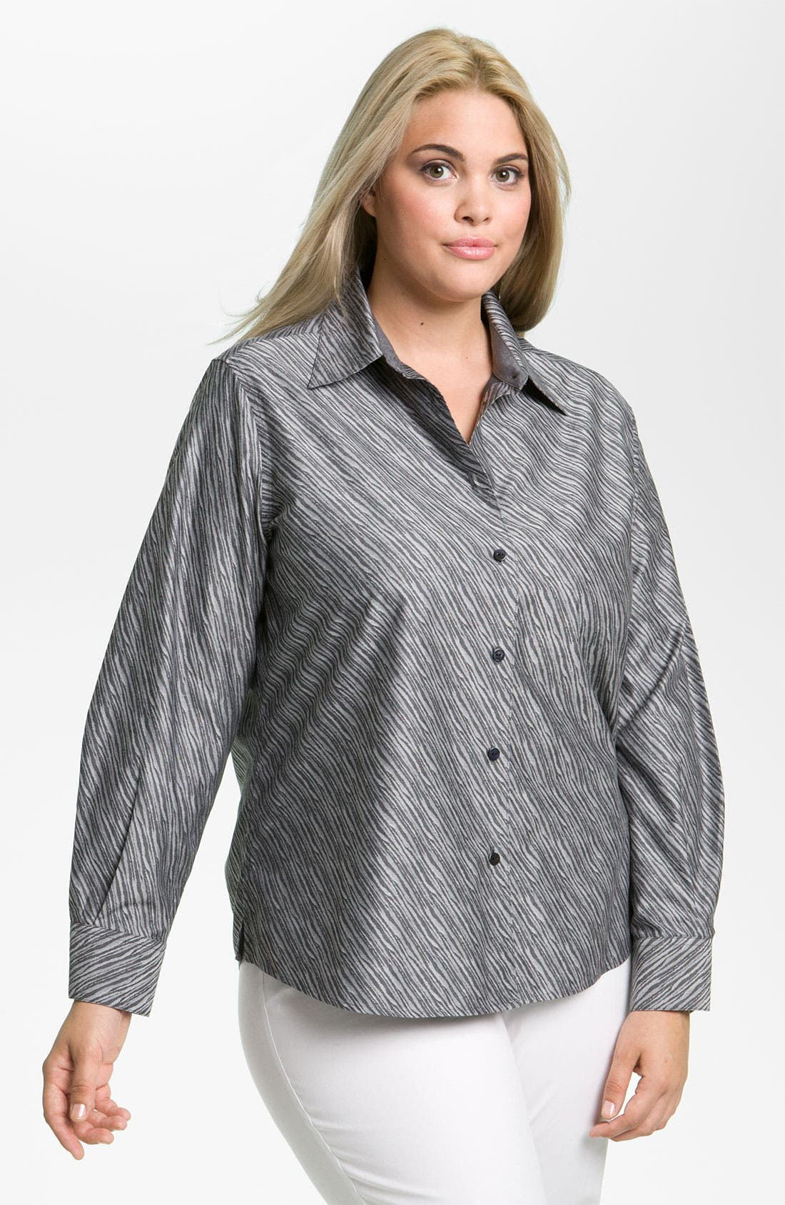Alternate Image 1 Selected - Foxcroft Shaped Zebra Pattern Shirt (Plus)
