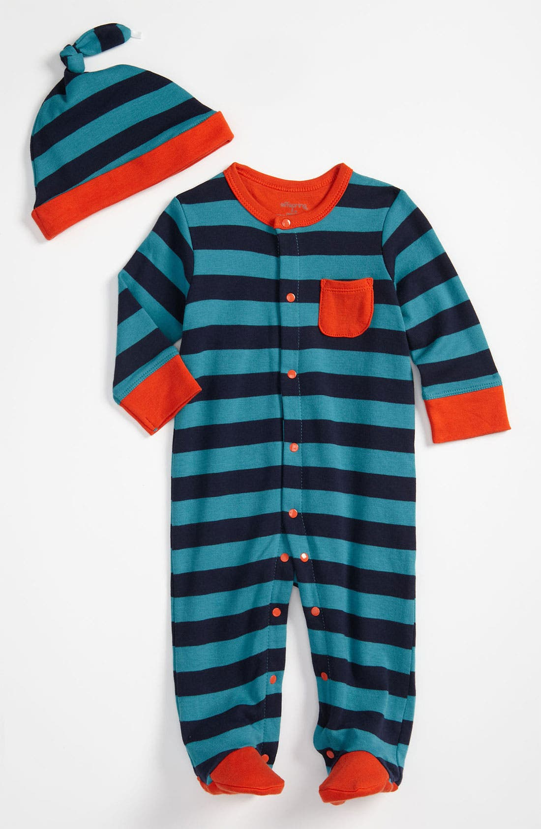Main Image - Offspring Stripe Footie & Hat Set (Infant)